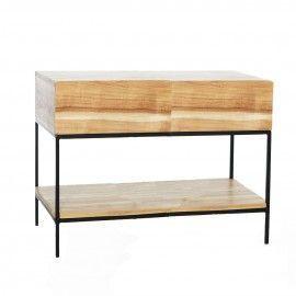 Consola de 2 cajones en madera de acacia y hierro.