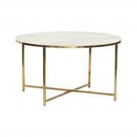 Mesa de centro dorada, efecto mármol blanco.