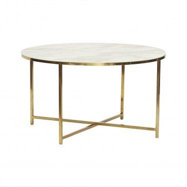 Mesa de centro dorada y mármol blanco.