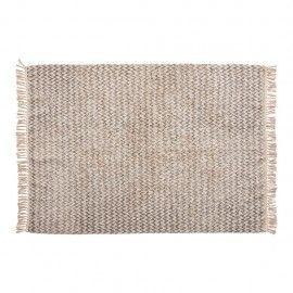 Alfombra de algodón blanca y gris.120x180cm.