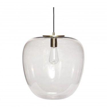 Lámpara de techo de cristal y latón.