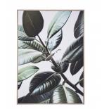 Cuadro de hojas con marco de madera.