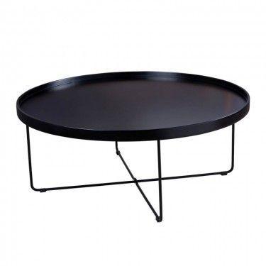 Mesa de centro redonda con sobre estilo bandeja.