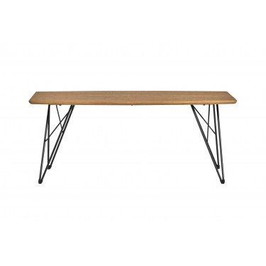 Mesa de centro efecto roble con patas de hierro.