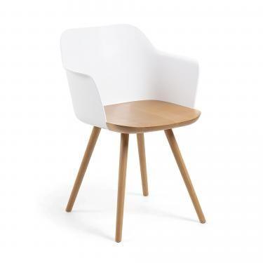 KLAM Silla brazos madera natural plástico blanco - Imagen 1