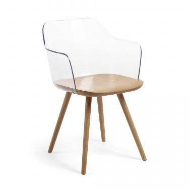 KLAM Silla brazos madera natural plástico transparen - Imagen 1