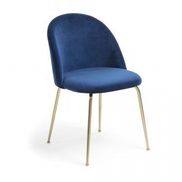 MYSTERE Silla terciopelo azul marino patas metal dorado - Imagen 1