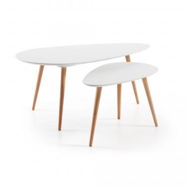BRICK Set 2 mesas auxiliares madera natural mdf blanc - Imagen 1
