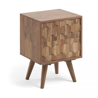 IMAGE Mesita de noche 40x55 madera acacia - Imagen 1