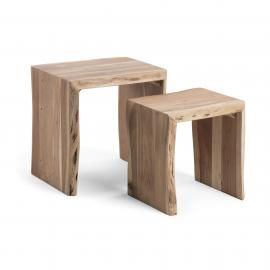 KAIRY Set 2 mesas nido madera acacia.50/42x42/34x50/45 cm.