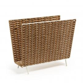 SHELTON Revistero metal blanco poly rattan natural