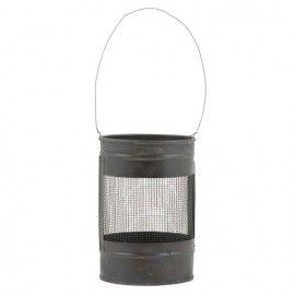 Farol porta velas metálico de estilo vintage industrial.