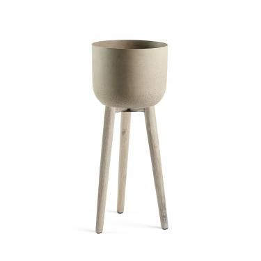 STAHL Macetero 86 acacia blanco cepillado cemento mar - Imagen 1