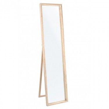 Espejo de pie en madera de paulowinia
