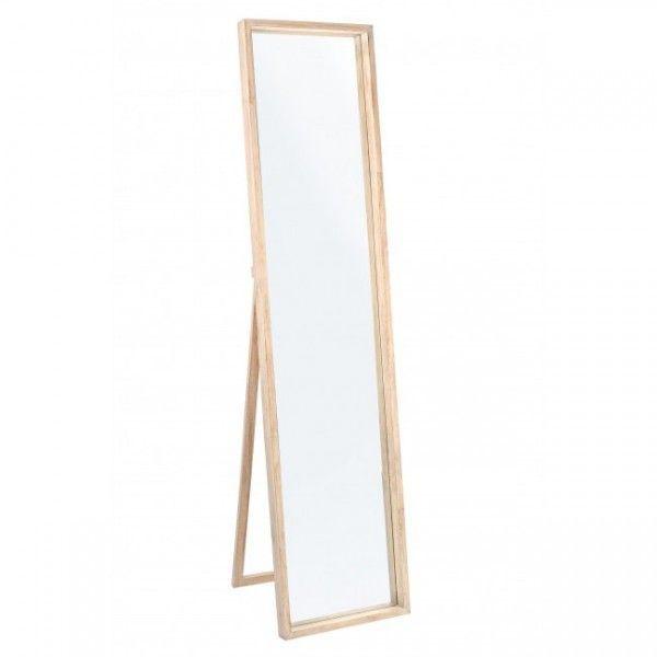 Espejo de pie con sopote y marco en madera natural de for Espejos de pie en madera
