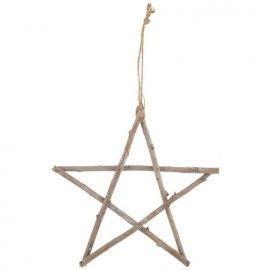 Estrella de ramitas de madera.