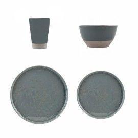 Vajilla gris sólido 4pers.