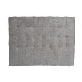 Cabecero tela gris costura cuadrados.