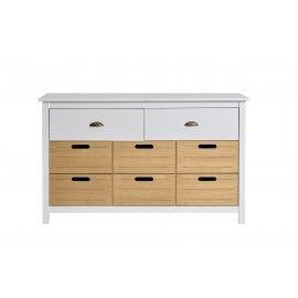 Cómoda blanca con cajones de madera. 130x45x80cm.
