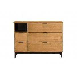 Cómoda madera natural y negro. 95,6x40x80 cm.