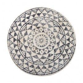 Alfombra redonda con estampado blanco y negro.120 cm.
