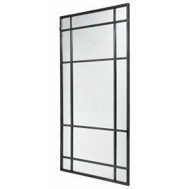 Espejo de pie de hierro negro tipo ventana. 204x102 cm.