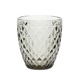 Set 2 vasos gris con motivos art deco.