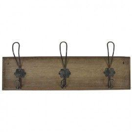 Colgador tres ganchos dobles metálicos base madera.