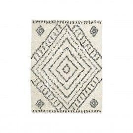Alfombra de algodón con estampado negro. 160x210 cm.