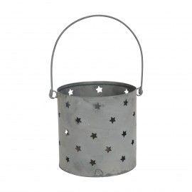 Portavelas estrellas metálico gris zinc con asa.
