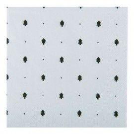 Servilletas desechables con arboles y puntos negros.