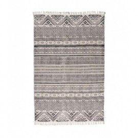 Alfombra 100% algodón estampado negro sobre tono natural. 120x180 cm.