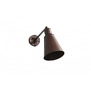 Lámpara de pared en hierro marrón tipo foco.