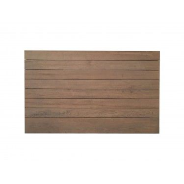 Cabecero tablas de madera natural para cama doble.