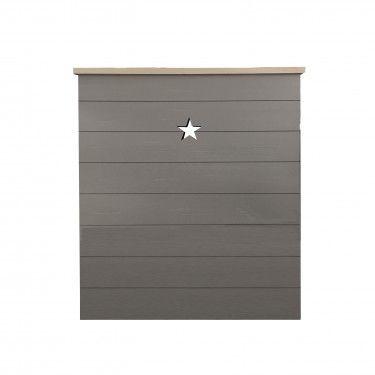 Cabecero infantil de tablas de madera en gris con detalle de estrella.