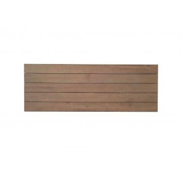 Cabecero tablas de madera natural para cama doble de colgar.