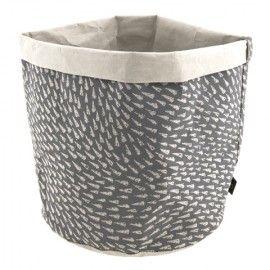 Cesto de papel gris.