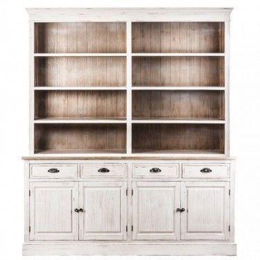 Vitrina madera blanca 4 puertas y 4 cajones con estantería superior.