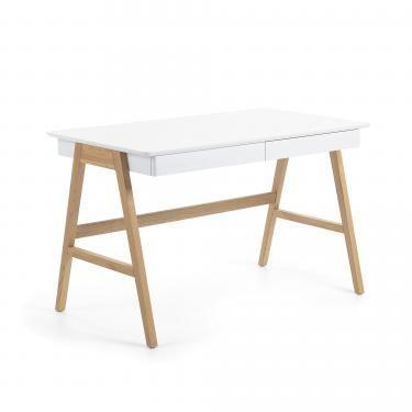 INGO Escritorio 120x60 dm blanco madera roble - Imagen 1