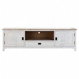 Mueble TV 2 puertas y cajón blanco envejecido.