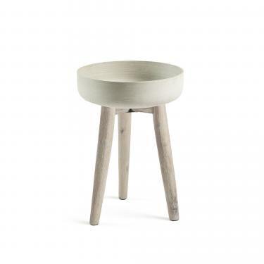 STAHL Macetero 51 acacia blanco cepillado cemento gri - Imagen 1
