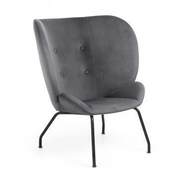 VERNEN Butaca metal negro tela gris oscuro - Imagen 1