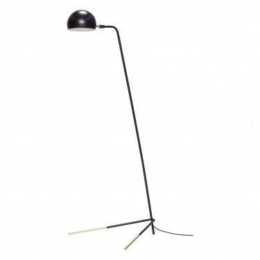 Lámpara de pie negra con detalles dorados.