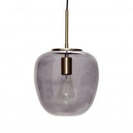 Lámpara de techo en cristal ahumado y latón.