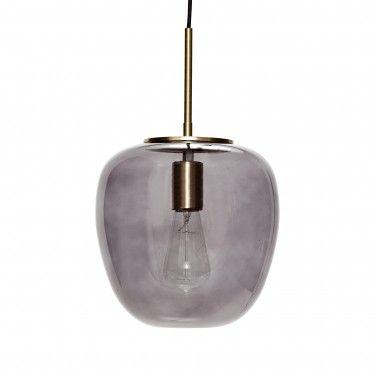 Lámpara de techo en cristal ahumado y latón