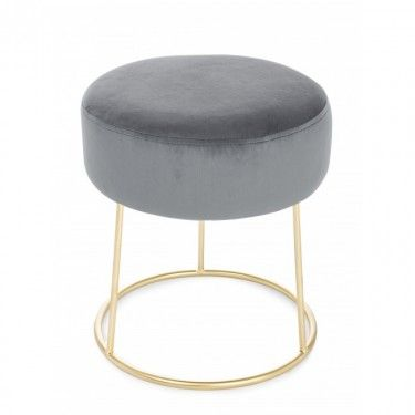 Puff de hierro con asiento gris