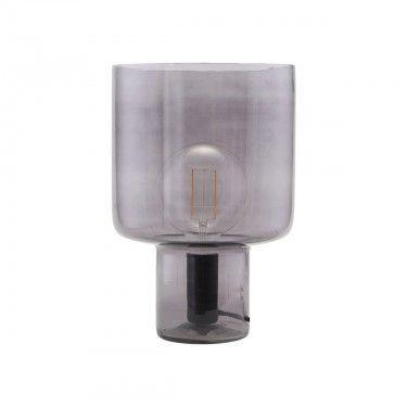 Lámpara de mesa gris ahumada.