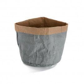 Cesta papel kraft gris.