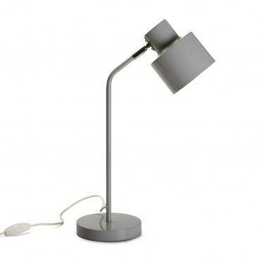 Lámpara de mesa gris.