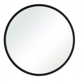 Espejo redondo con marco negro.